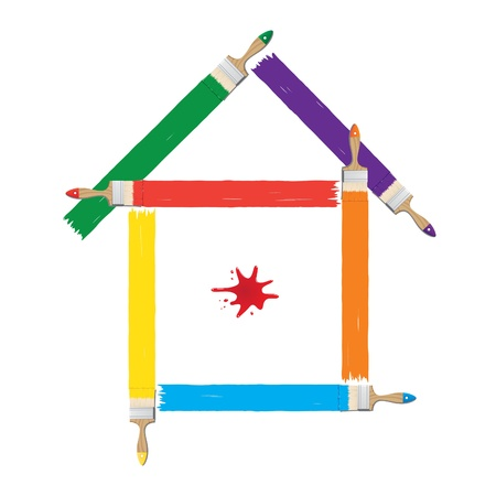 Vector illustration of houses painted colors Vector