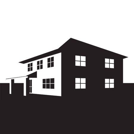 suburb: Vector illustration of home in black and white color