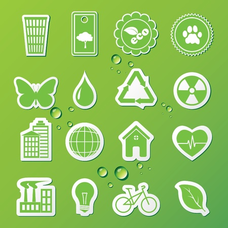 Vector illustration of icons on the theme of ecology Çizim