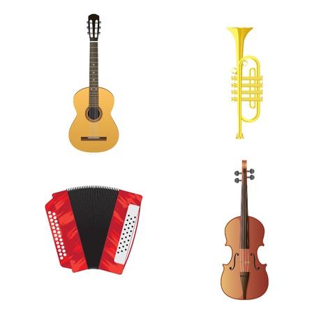 fife: Vector illustration of musical instruments