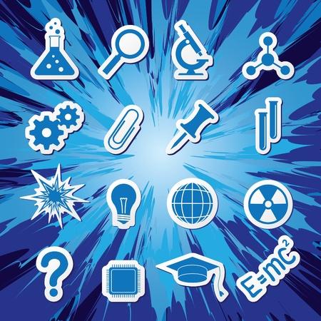 Iconos sobre el tema de la ciencia Foto de archivo - 10267700