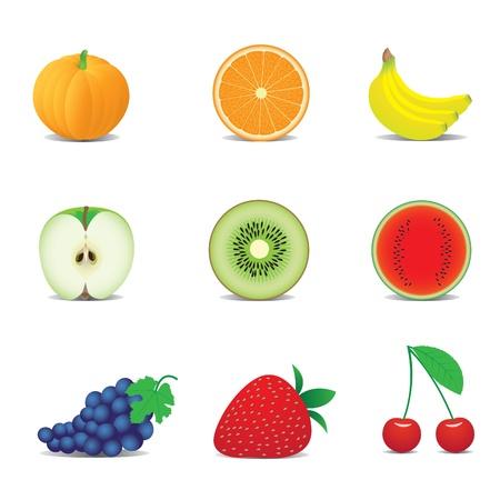 iconen van de vruchten Stock Illustratie