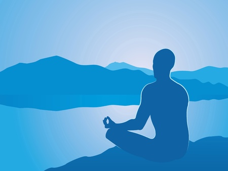 man meditating:  meditation at dawn