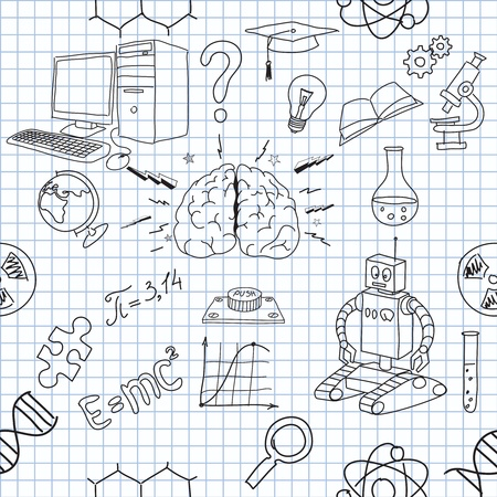 lined: illustration of icons on the topic of science
