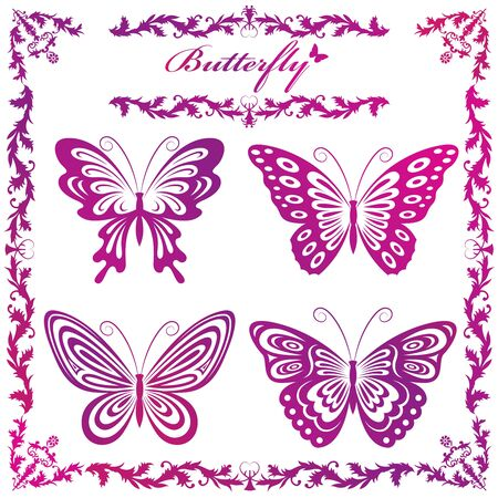 Illustration of silhouettes of butterflies Vector