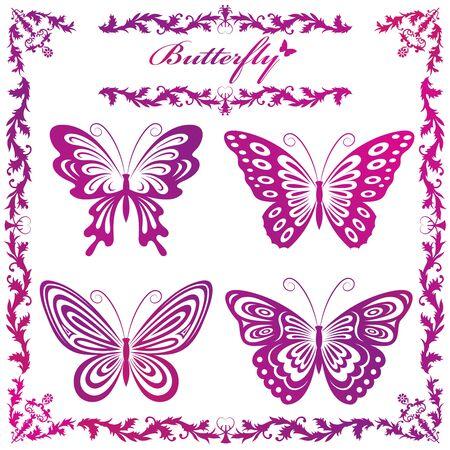 Illustration des silhouettes de papillons
