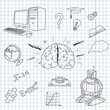 adolescente pensando: ilustraci�n del cerebro