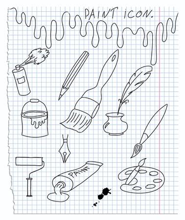 paintbrush spray: illustration of icons on paint