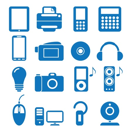 earbud: illustration of the icons of the electronics
