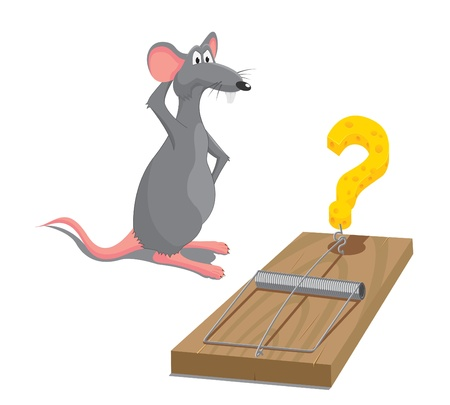 mouse trap: illustration of rat located next to mousetrap Illustration