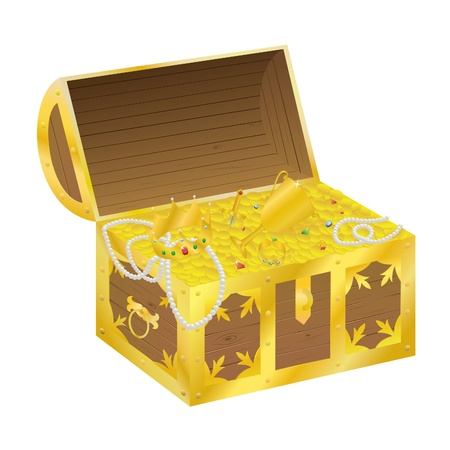 Illustration of a chest of gold Vector