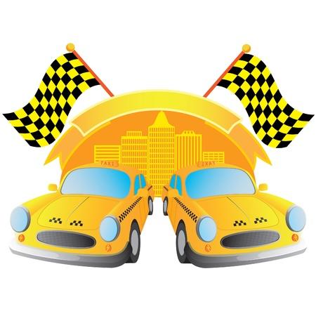 fare: illustration of logo taxi Illustration
