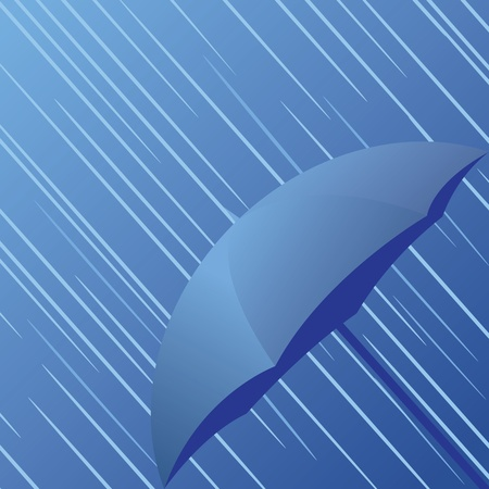 torrential rain: illustration of rain and umbrella Illustration