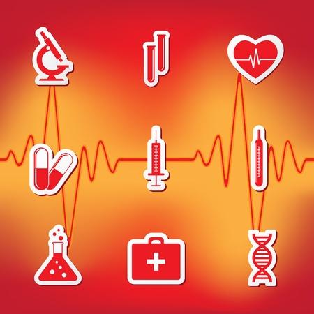 injecting: illustration of nine icons on medicine Illustration