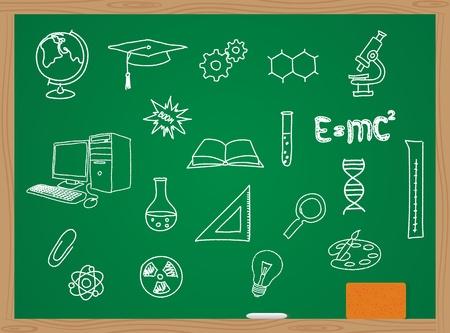 Vuktornaja illustratie van pictogrammen op een chemie thema