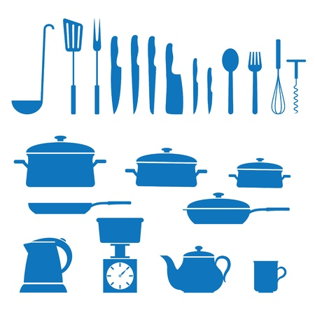 kitchen appliances: illustration of icons on kitchen appliances