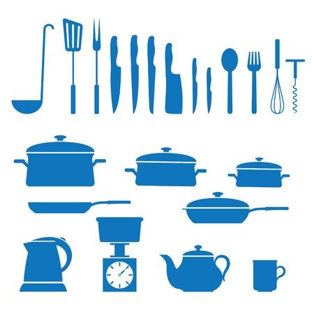 kitchen utensils: ilustraci�n de los iconos de aplicaciones de la cocina Vectores