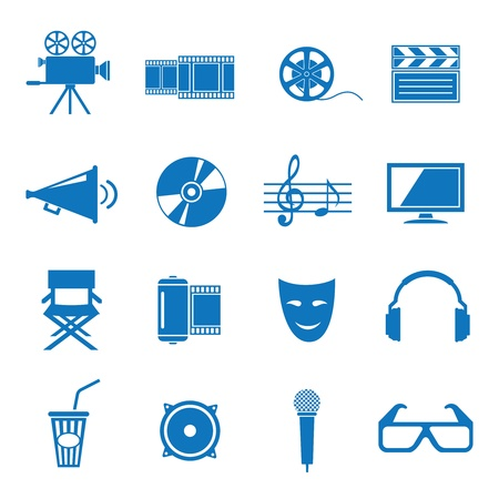 film set: Vector illustration icons on Film Illustration