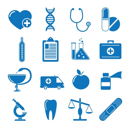 Vector illustration icons on medicine Çizim