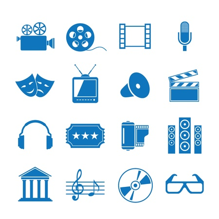 funny movies: Vector illustration icons on Film Illustration