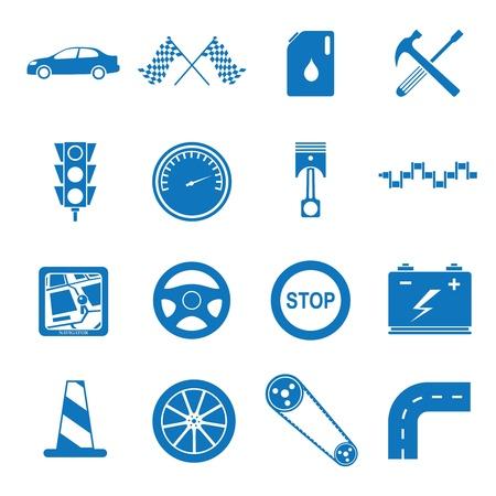 Vector illustratie pictogrammen op de mechanica