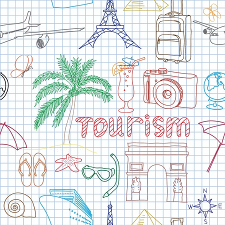Vector illustration image on tourism Çizim