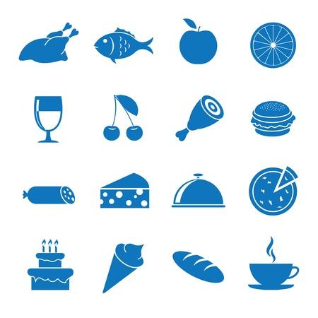 bandeja de comida: Iconos Ilustraci�n del vector en los alimentos