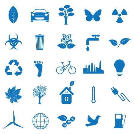 Vector illustration icons on ecology Çizim