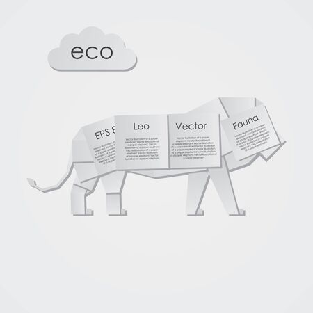 Vector illustration of a paper lion Vector