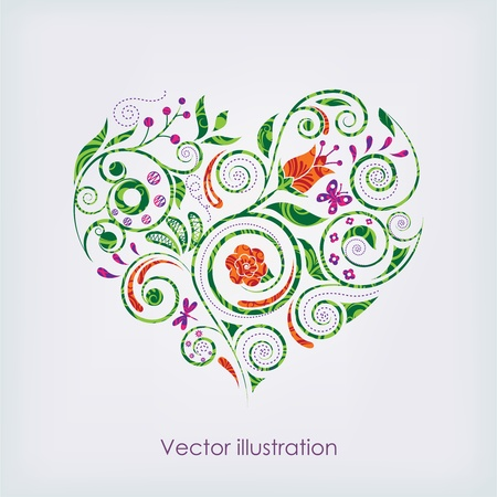 plant delicate: Vector illustration of heart
