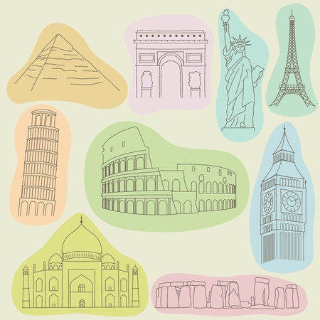illustration of monuments Vector