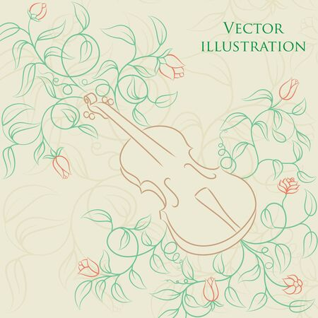 illustration of a violin Vector