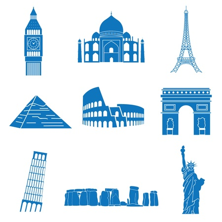 eiffel tower: illustration of attractions Illustration