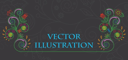 illustration of floral pattern on a black background Vector