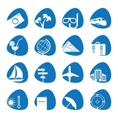 illustratie van pictogrammen op het onderwerp van het toerisme Stock Illustratie