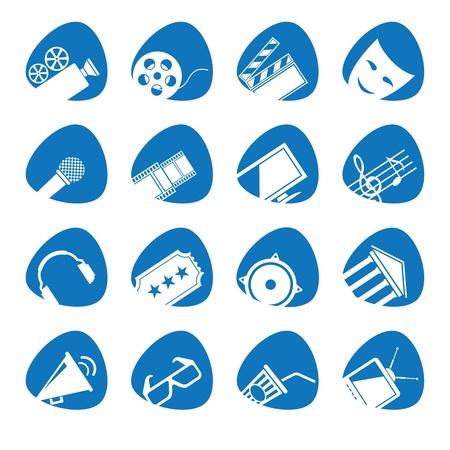 entertainments:  illustration icons on Film Illustration