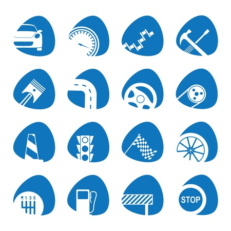 wheel change: illustration icons on the mechanics Illustration