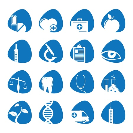 iconos medicos: iconos ilustraci�n sobre la medicina Vectores