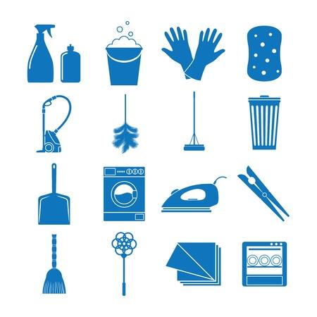 gospodarstwo domowe: Ikony Ilustracja na sprzątanie
