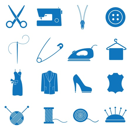 sewing: illustration icons on sewing
