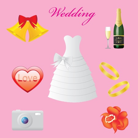 Vector Illustration of wedding icons Stock Vector - 13424156