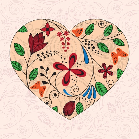 hearts and flowers: Vector ilyuyustratsiya heart decorated with floral pattern Illustration