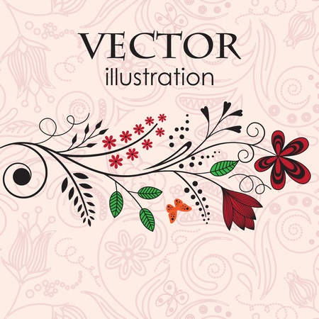 Vector illustration of branches adorned with flowers