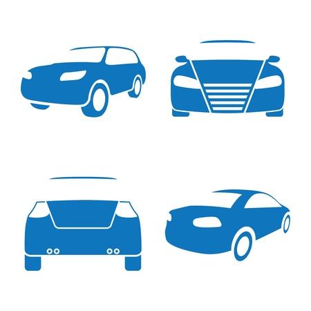 Vector illustratie van auto-iconen op een witte achtergrond Stock Illustratie
