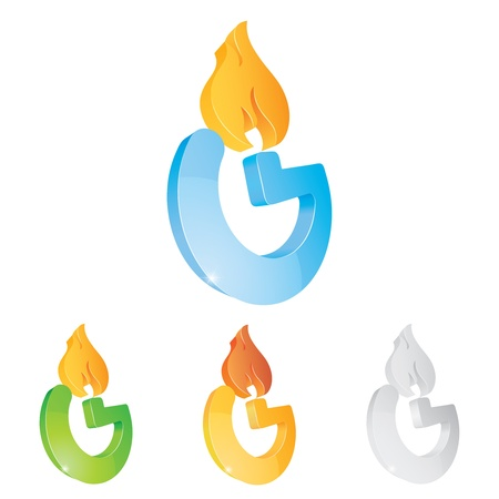 gas fire: Vector illustration of a character on a white background