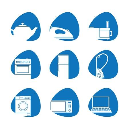 spotřebič: Vektorové ilustrace domácích spotřebičů