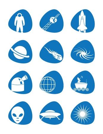 Vector illustratie van pictogrammen op de kosmos Stock Illustratie