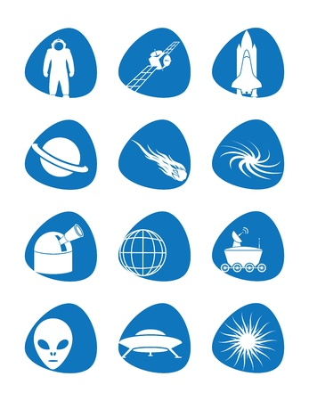 Vector illustration of icons on the cosmos Çizim