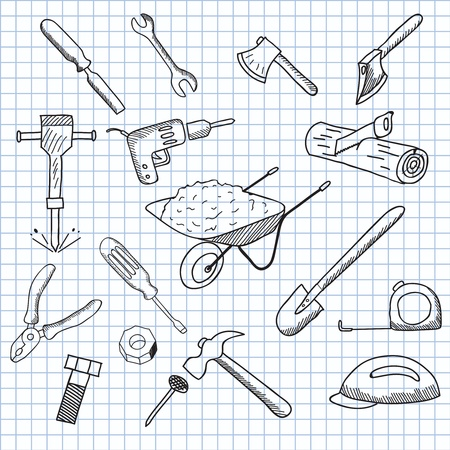vector illustration set of tools