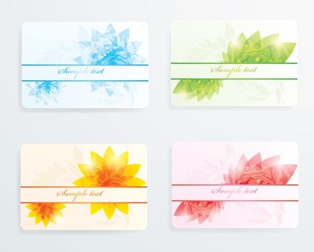 visitekaartje: Illustratie van kaarten op het thema van de seizoenen